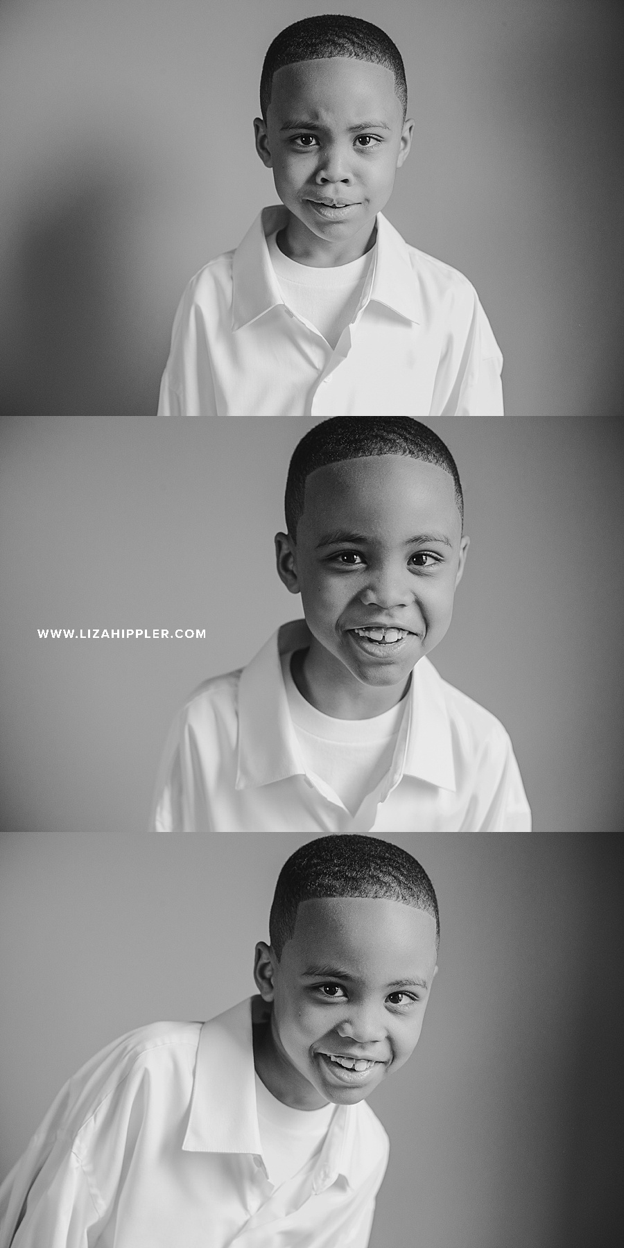 triple photos of african american 7 year old boy on his birthday black & white images