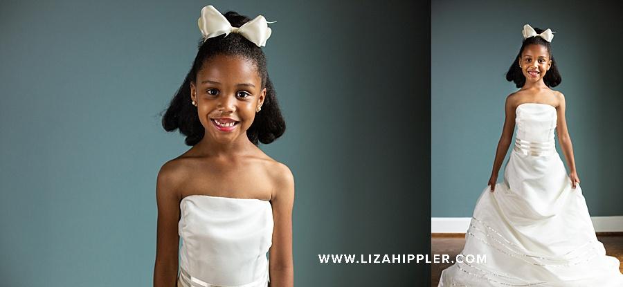 birthday girl age 6 wears her mom's wedding dress