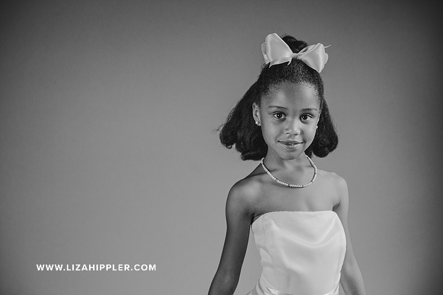 birthday girl in black and white age 6