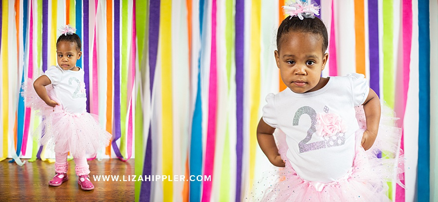 little 2 year old african american girl gets her birthday photos