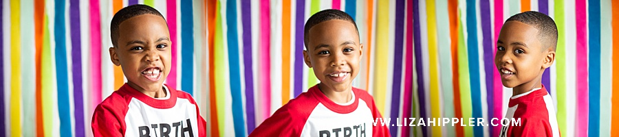 set of three closeups of 7 year old birthday boy with colorful streamer background