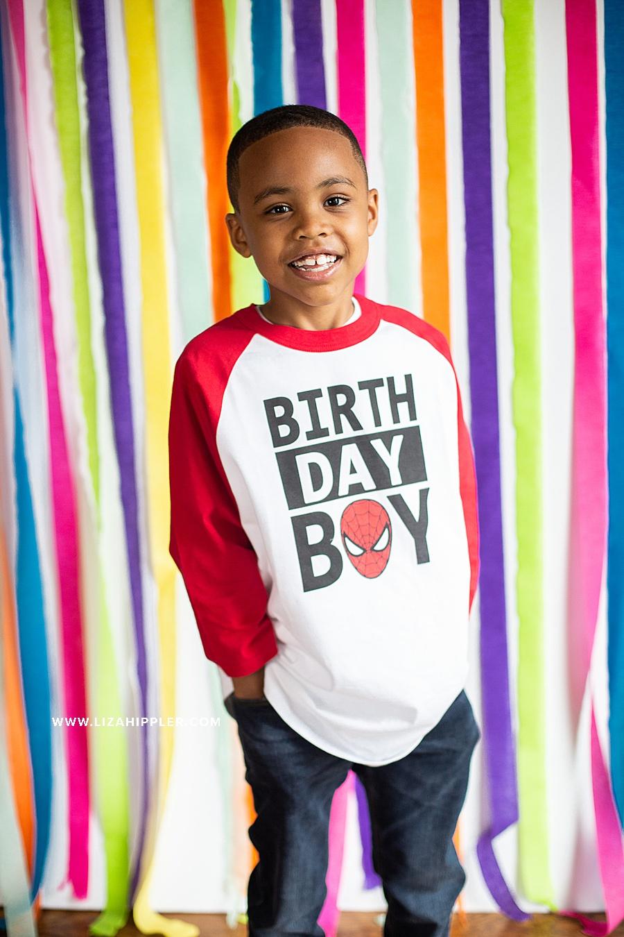 portrait of birthday boy on 7th birthday