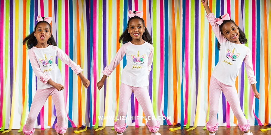 6 year old girl does the floss in a series of 3 photos