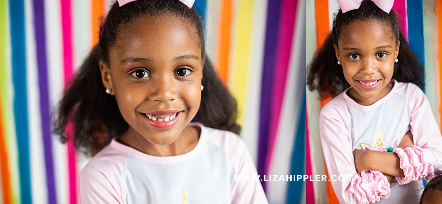 birthday girl smiles for her 6th birthday photos