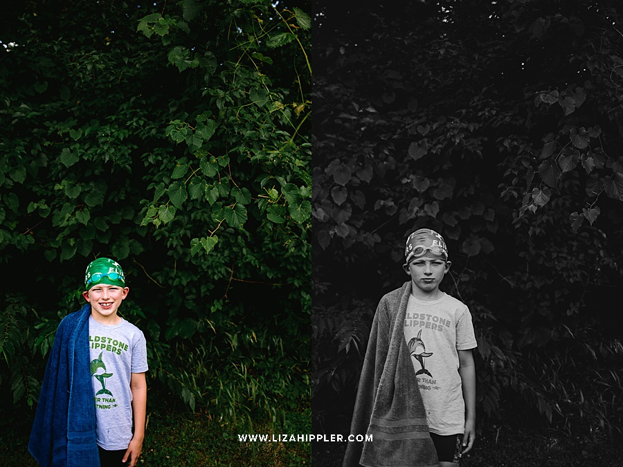 color and black and white of boy outside in swim cap near trees