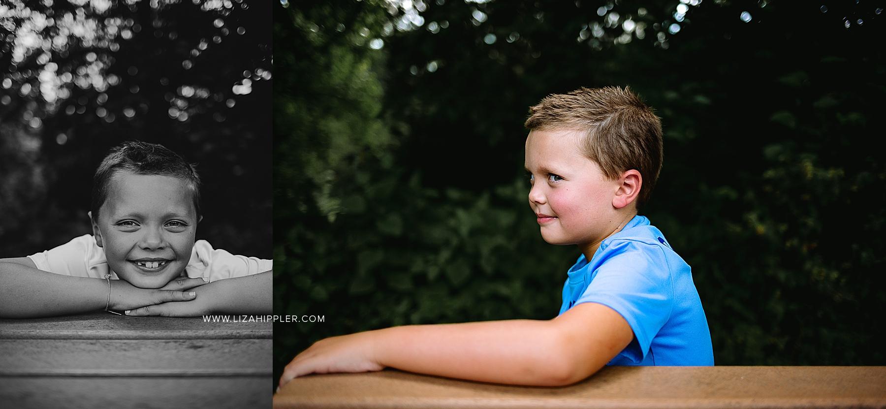 young boy side eyes camera