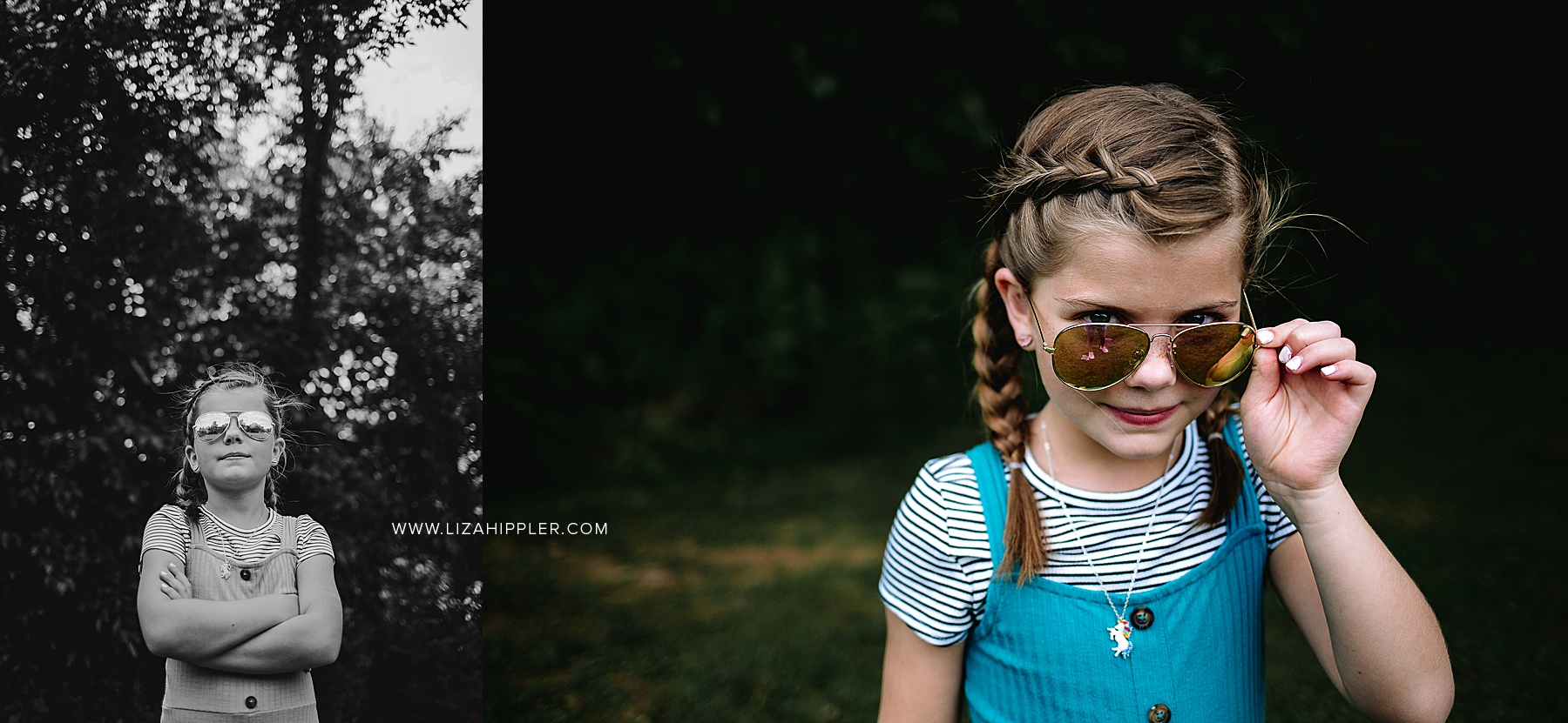 girl poses with sunglasses