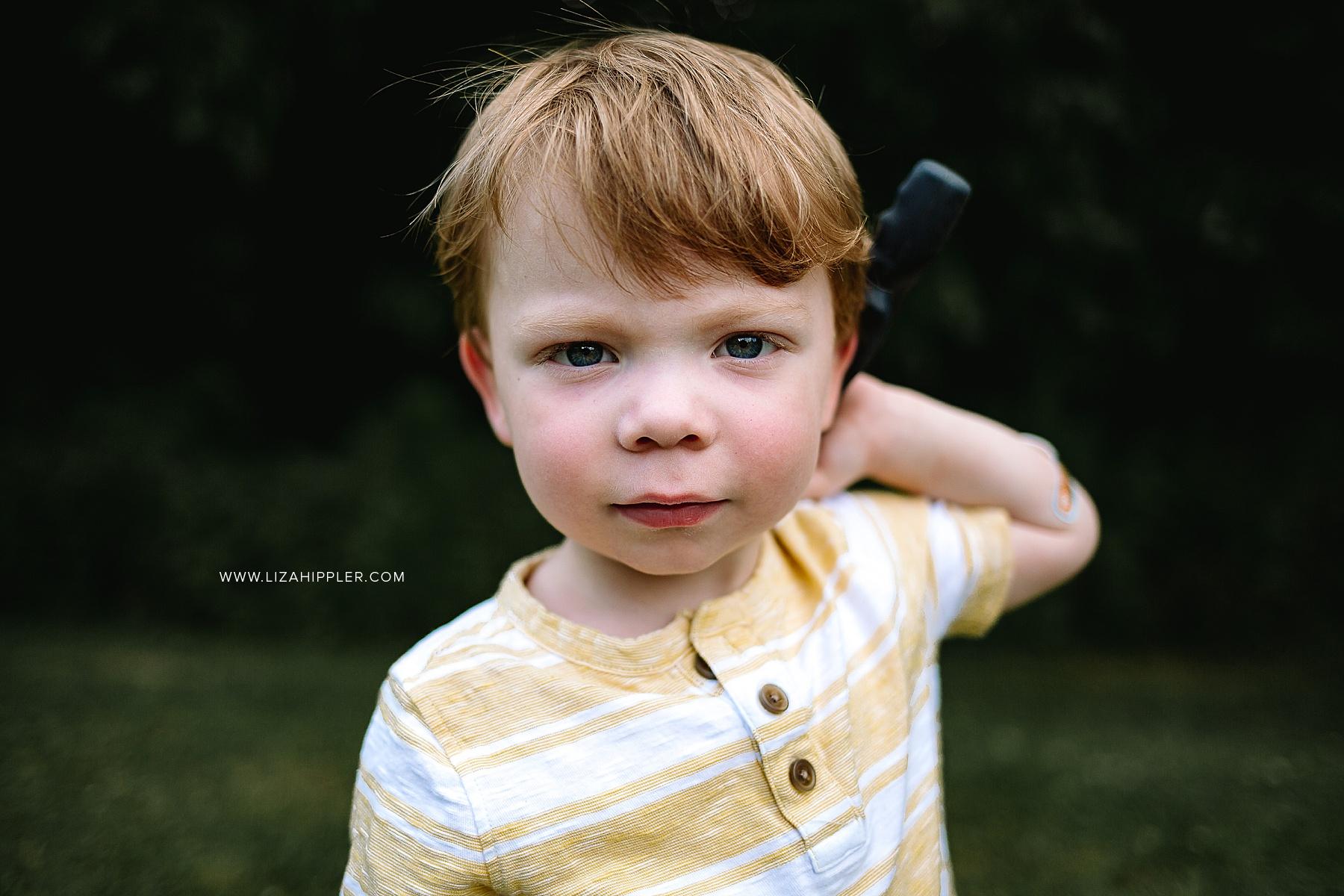 toddler redhead boy closeup