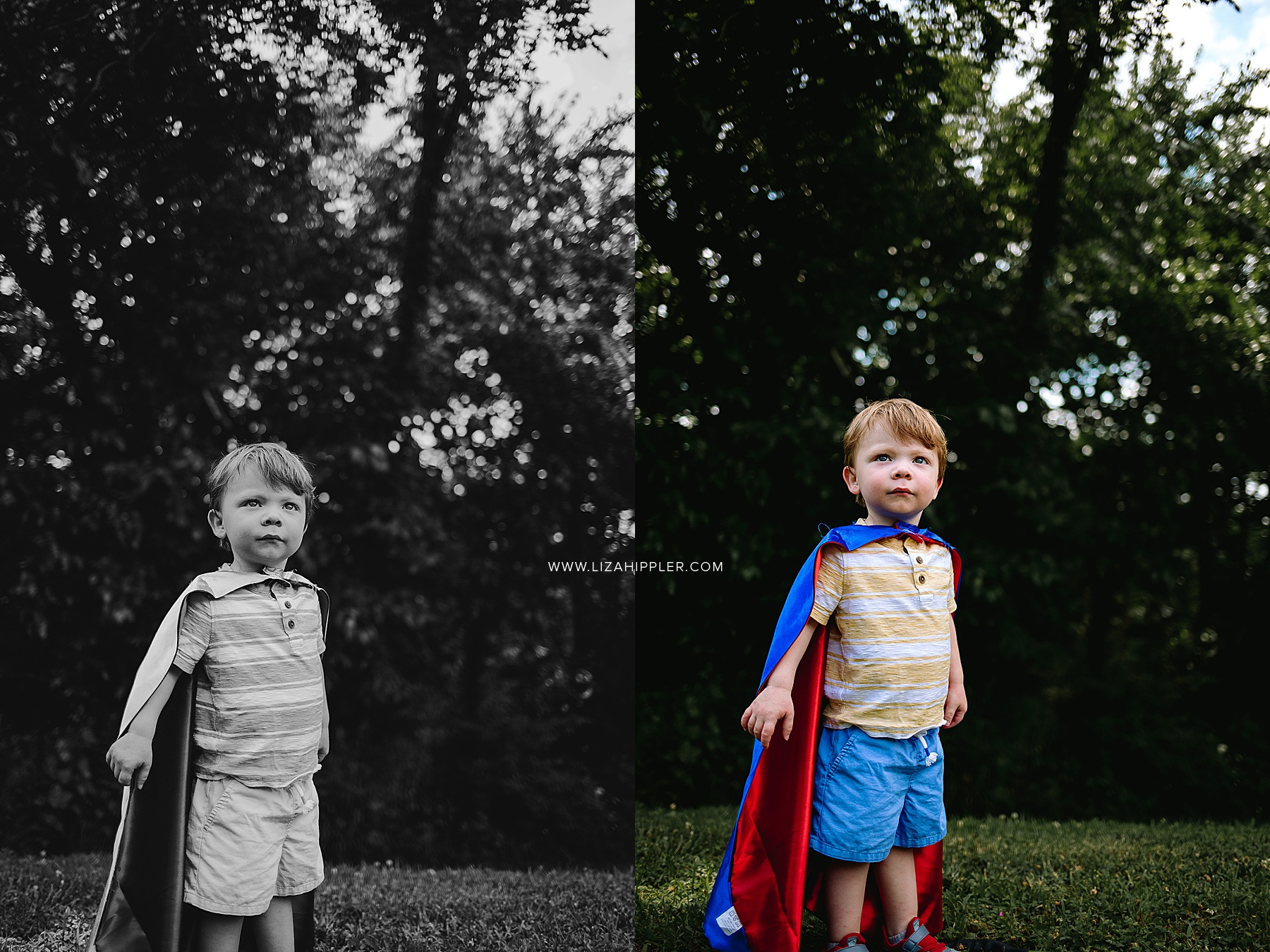 boy toddler wears big brother cape
