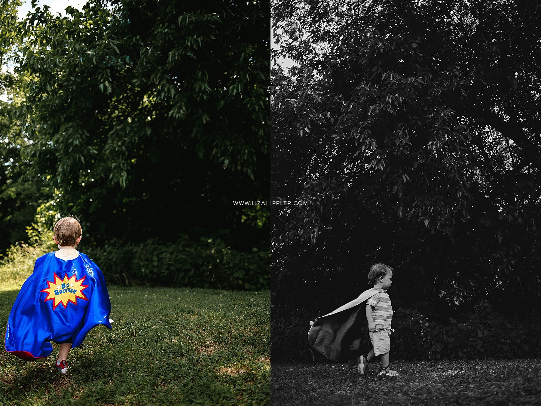 toddler big brother runs around in a blue cape