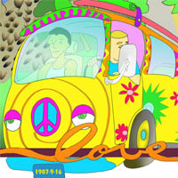 """Driving this psychedelic V.W. van is  George Freeth  and  Duke Kahanamoku (a.k.a- """"the Big Kahuna"""").Supposedly, s urfing  was introduced to San Diego at Ocean Beach in 1916 when a local lifeguard borrowed a board from the  Duke . Others say, it's possible that  Freeth  surfed there between 1907 and 1909.  By 1966, the sport was taking off in So. Cal. and the World Surfing Championship was held in O.B.  Nat Young  won the event and was named  world surfing champion ."""
