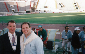 Brignole (left) working for IMG in Bolivia at Copa America in 1997, with former Argentine rugby player Matias Corral.