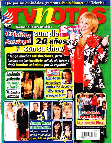 TV NOTAS, Crisitna Saralegui, 2009