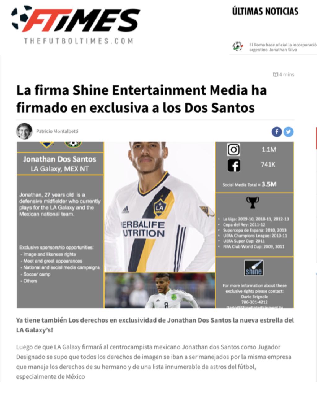 Shine signs Jonathan Dos Santos