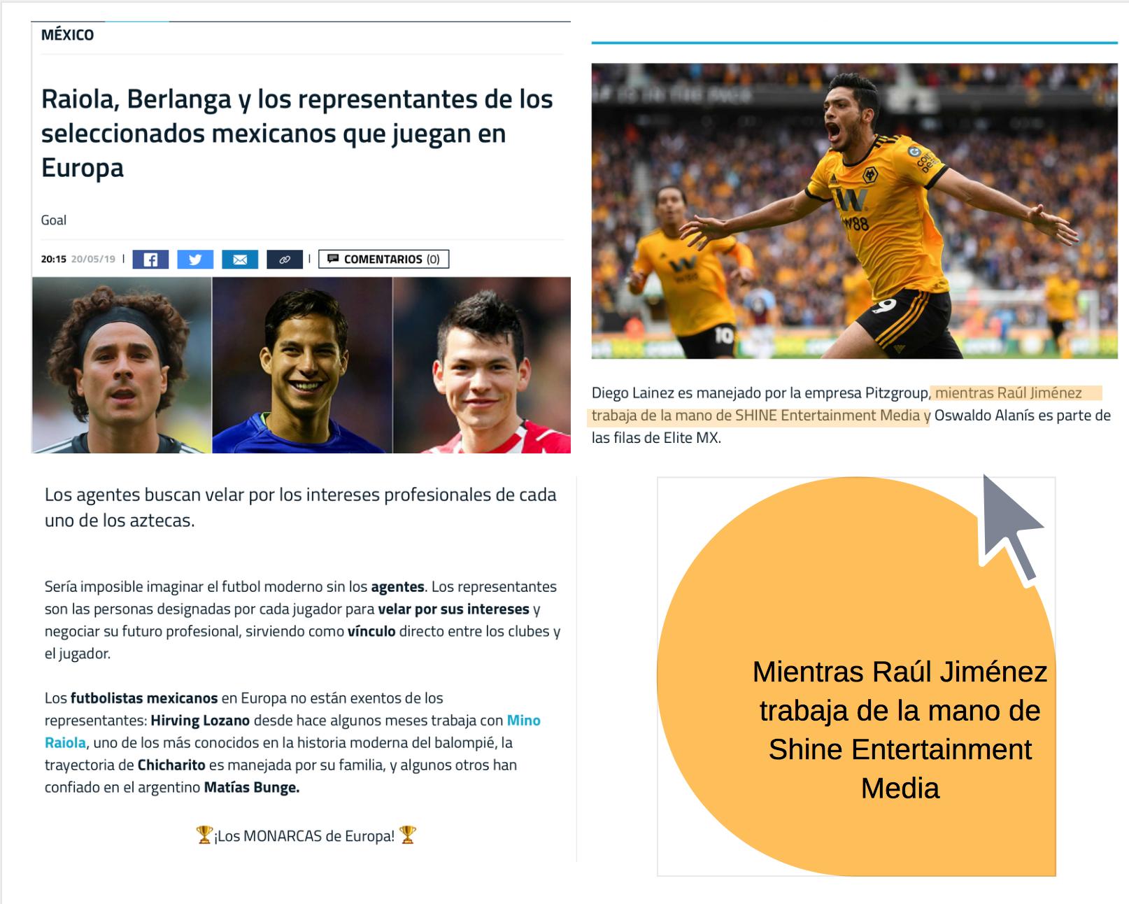 Shine, agencia que representa a Raúl Jiménez