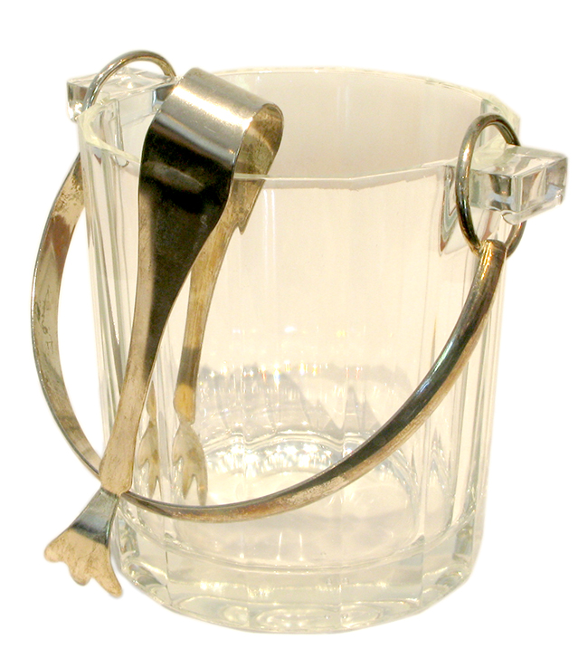 Ice bucket with silver plate handle & tongs