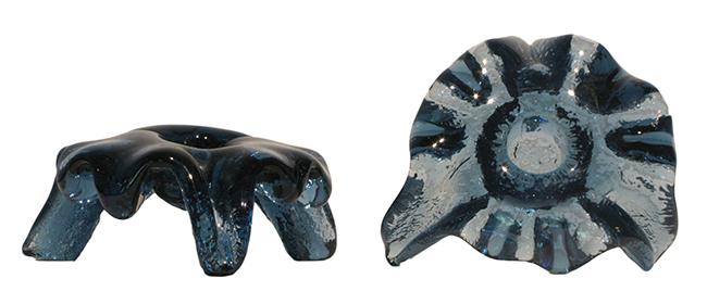 Blenko candle holders pair