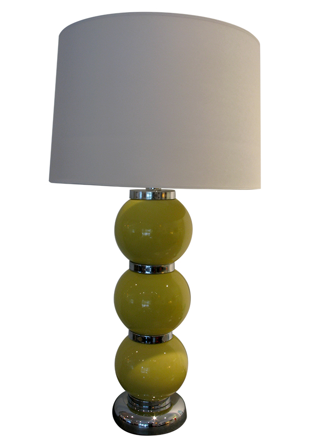 Yellow ceramic ball lamp