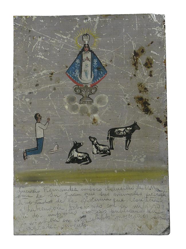 Folk art painting on tin: $150