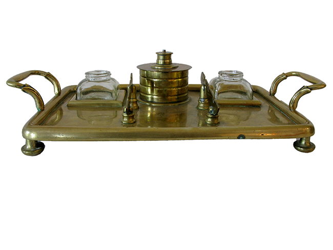 Brass tray with ink well: $90