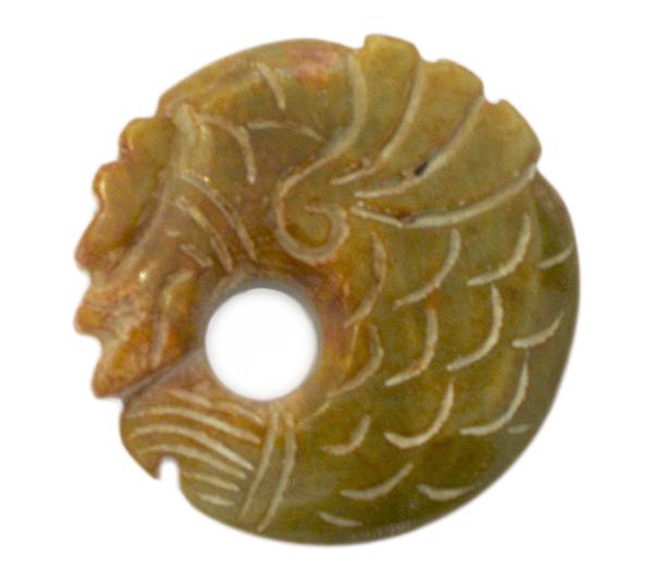 Chinese jade dragon amulet: $65