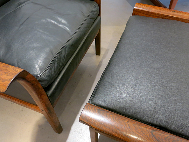 Hans Olsen chair and ottoman in black leather.jpg