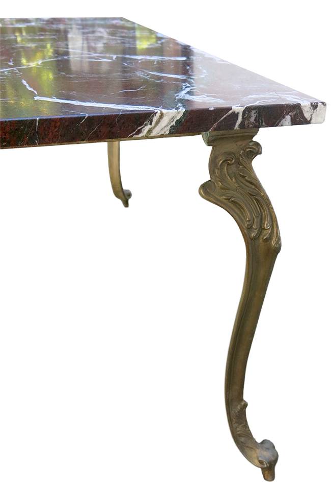 Bronze base marble top cocktail table - Antique furniture Atlanta.jpg