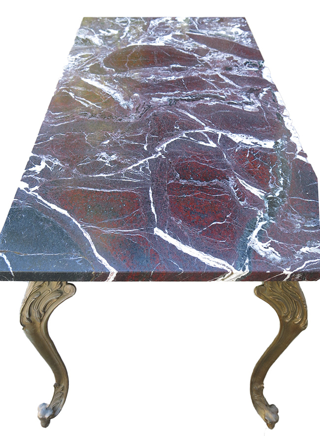 Bronze base marble top cocktail table - Antique marble table.jpg