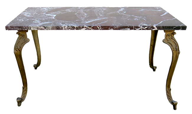 Bronze and marble cocktail table: $540