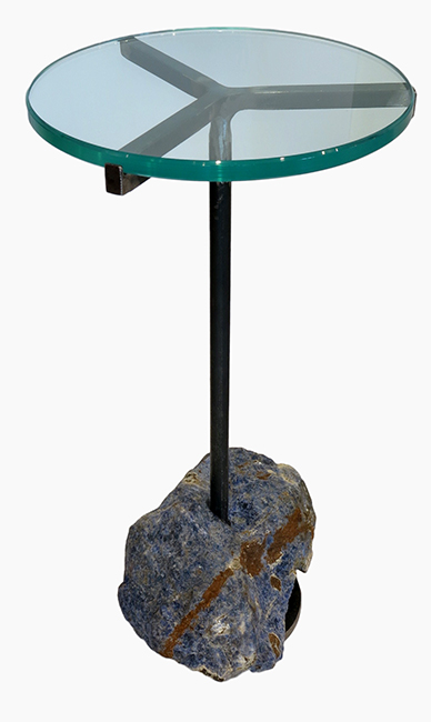 Sodalite cocktail table with oiled steel and glass.jpg