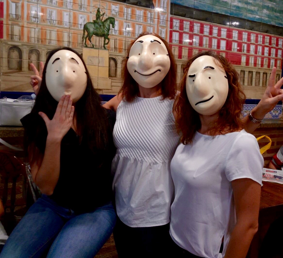 Secondary school teachers with laval masks (Trestle masks)