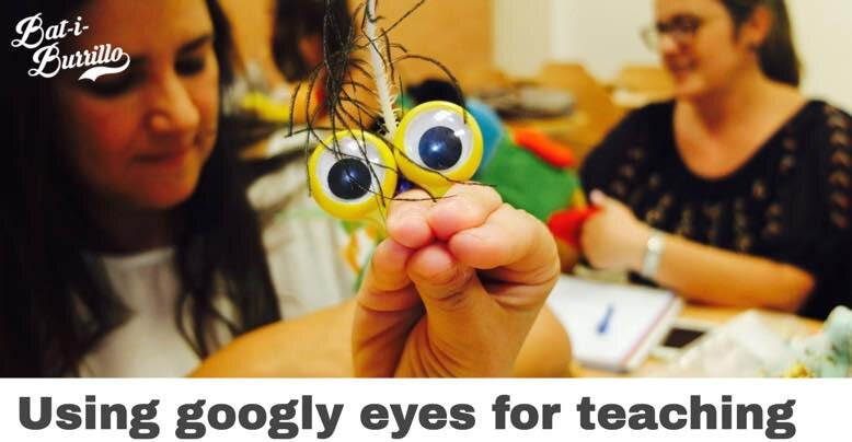 Teacher training workshop I ran, showing teachers how to make and use googly eyes for teaching infants and primary