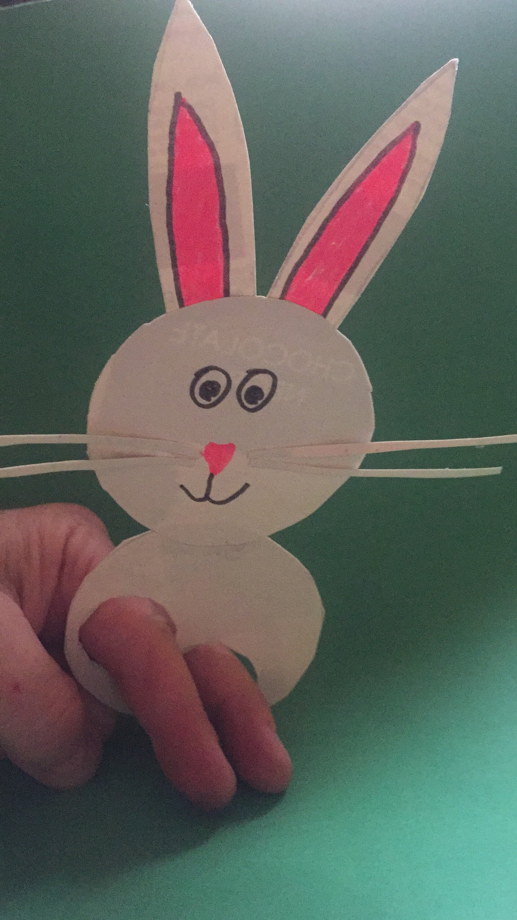 Simple rabbit finger puppet made from recycled cardboard