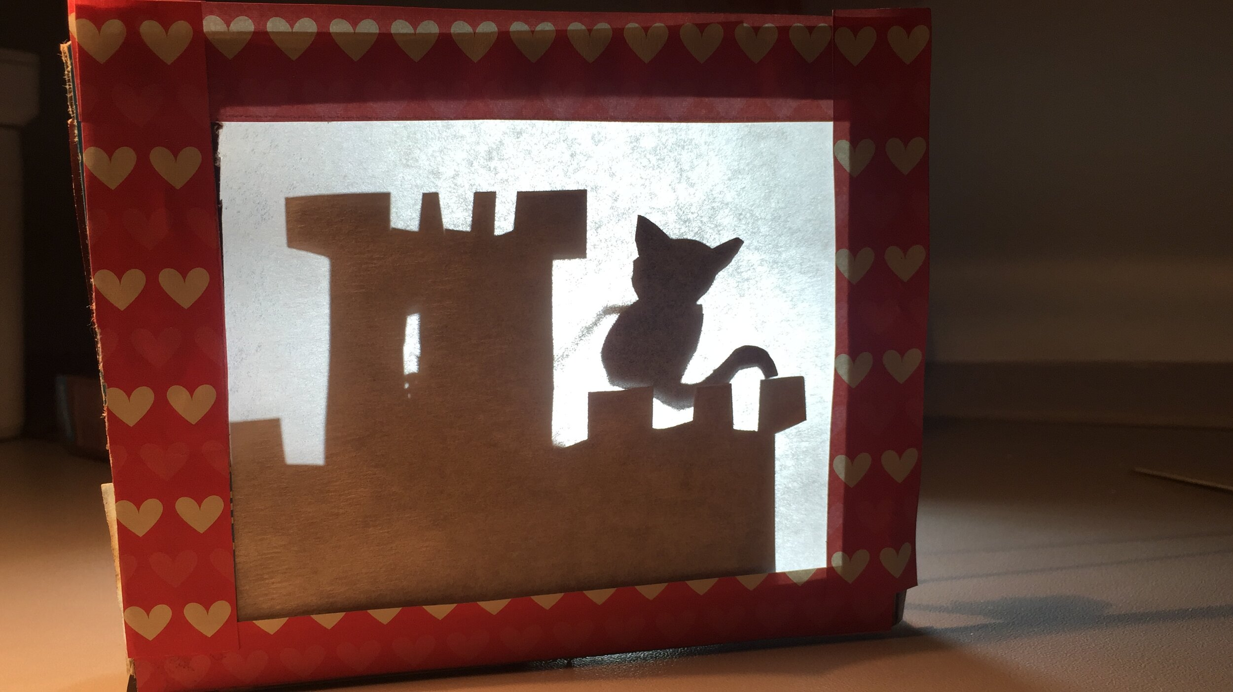 Completed tiny shadow puppet theatre
