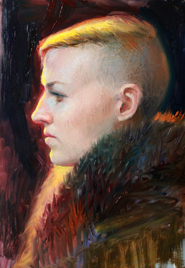 "Dayna, Profile Study , oil on mylar, 12x18"" 2014 by Diana Corvelle"