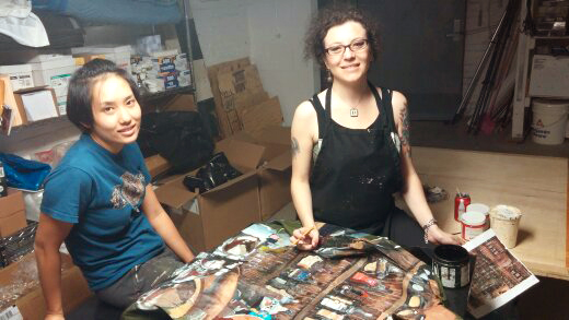 Mei Ge and Buket Savci hard at work at Klein Sun Gallery, pre-painting Liu Bolin's jacket to blend in with the iconic Boom Boom Room bar.