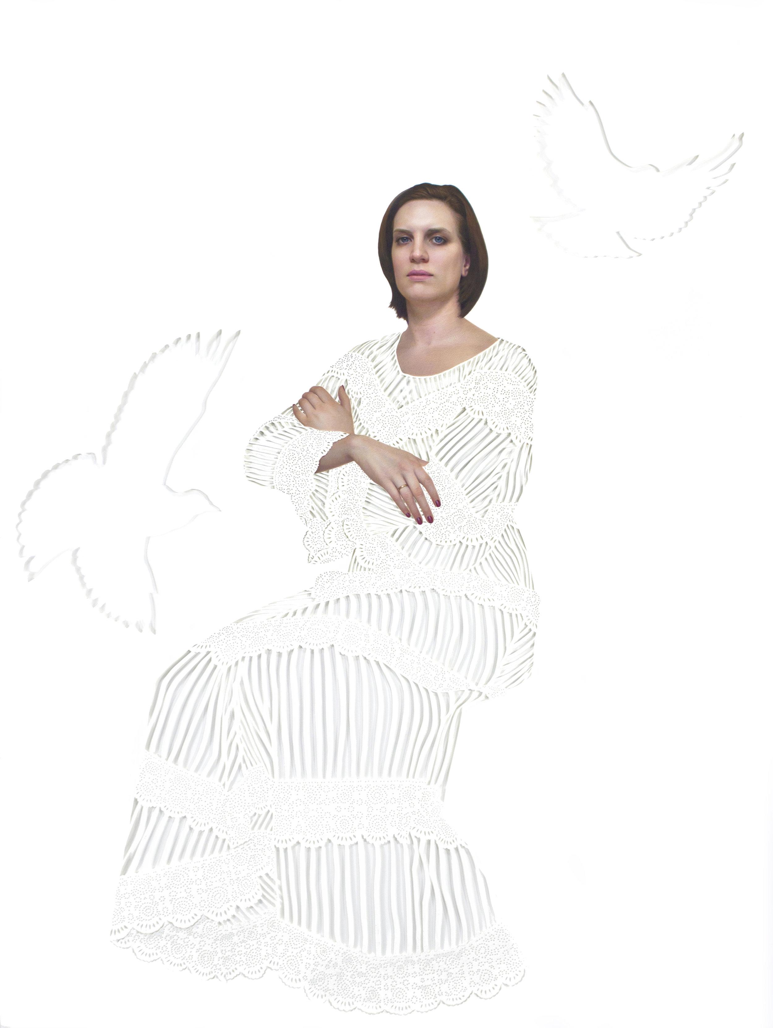 "Engagement , gouache on cut paper, 30"" x 40"" by Diana Corvelle"