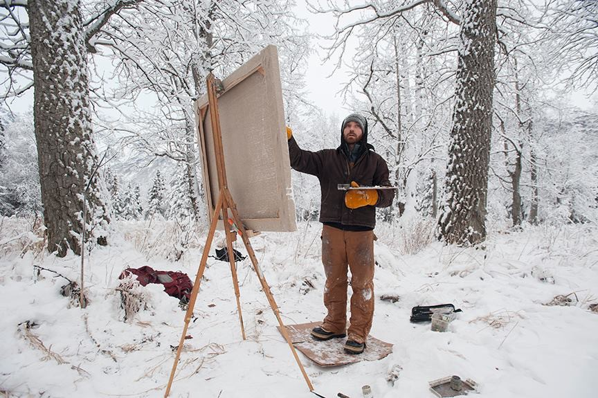 Artist David Pettibone at work outside
