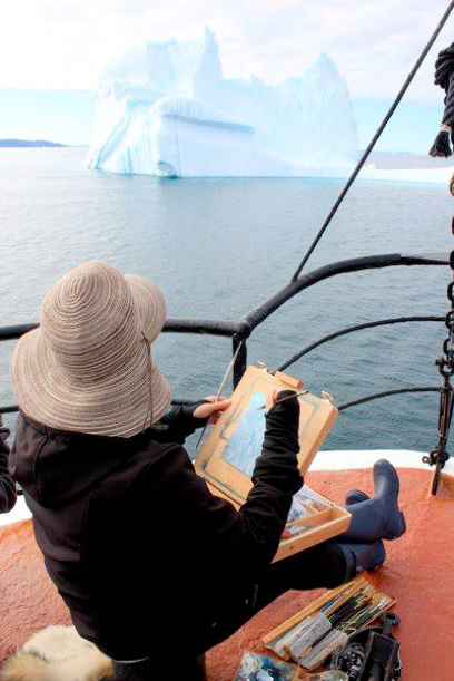 Lisa Lebofsky painting glaciers on location