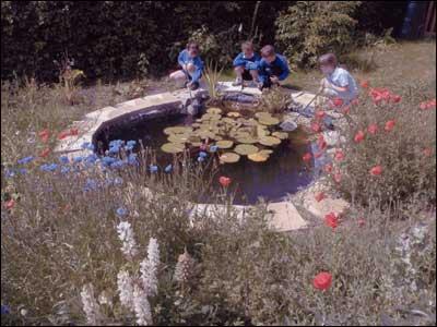 Disfrutando de la naturaleza en el jardín de la escuela.