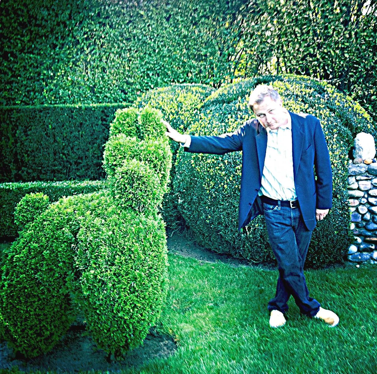 Smith in a topiary garden