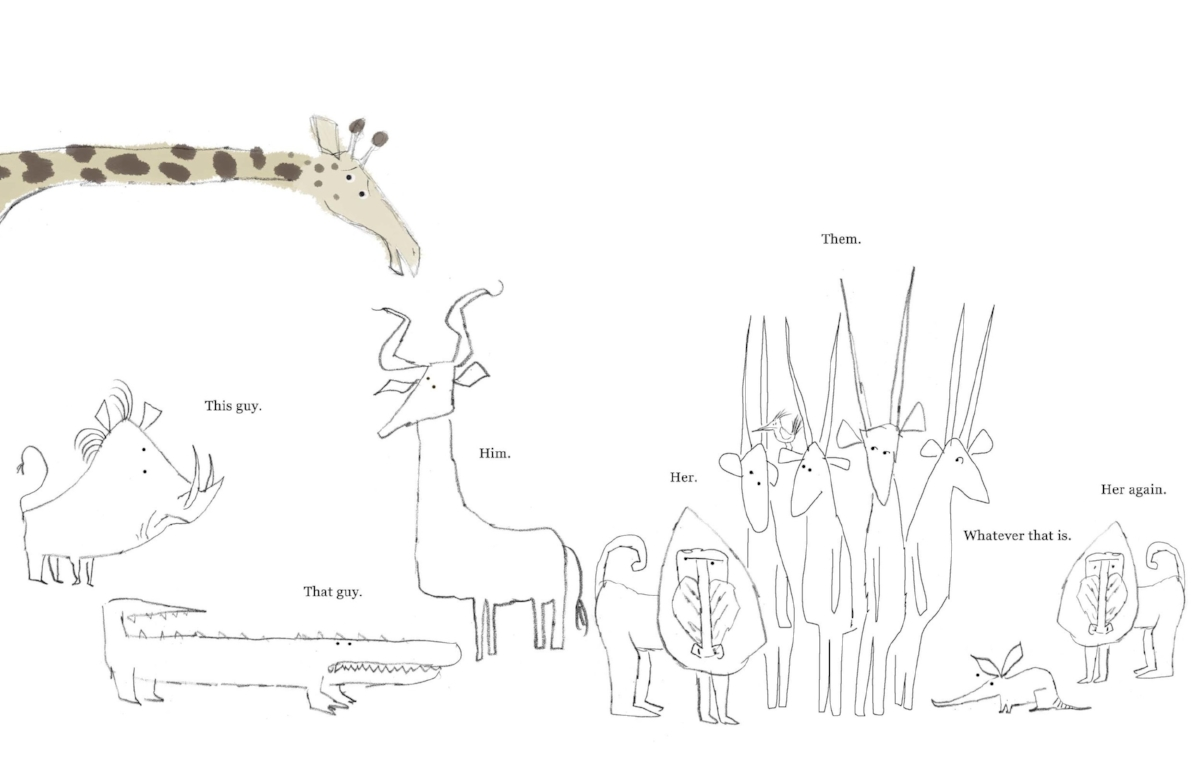 Preliminary sketch by Lane Smith for   Giraffe Problems,   by Jory John