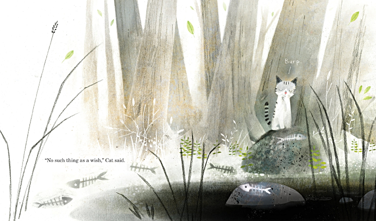 Interior spread from   Cat Wishes   ,  by Calista Brill, illustration by Kenard Pak