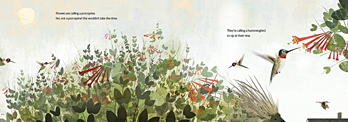 Interior spread from   Flowers Are Calling  , by Rita Gray, illustration by Kenard Pak