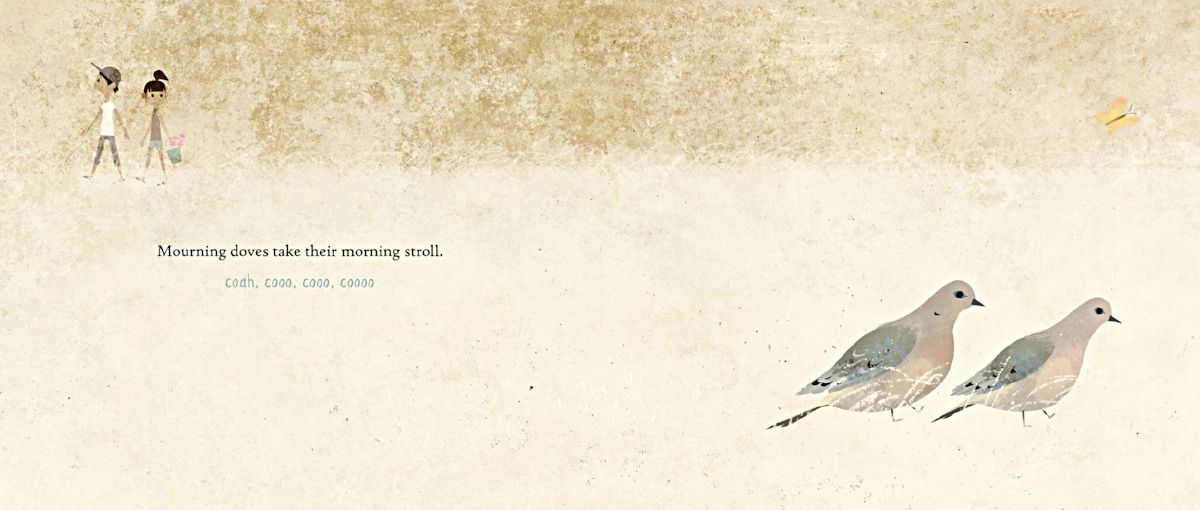 Interior spread from   Have You Heard the Nesting Bird?  , by Rita Gray, illustration by Kenard Pak