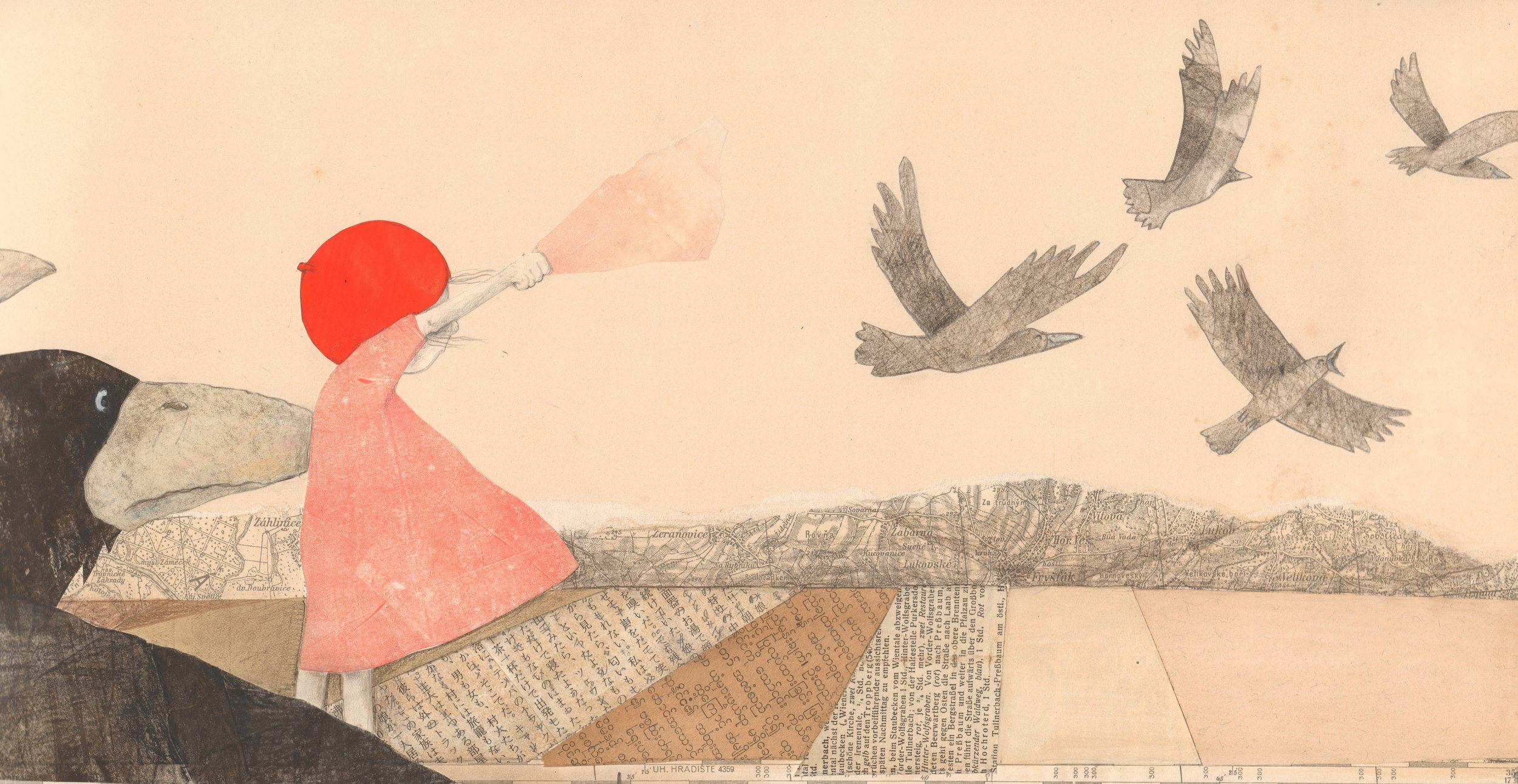 Illustration from interior spread in   Rosie the Raven  , Helga Bansch
