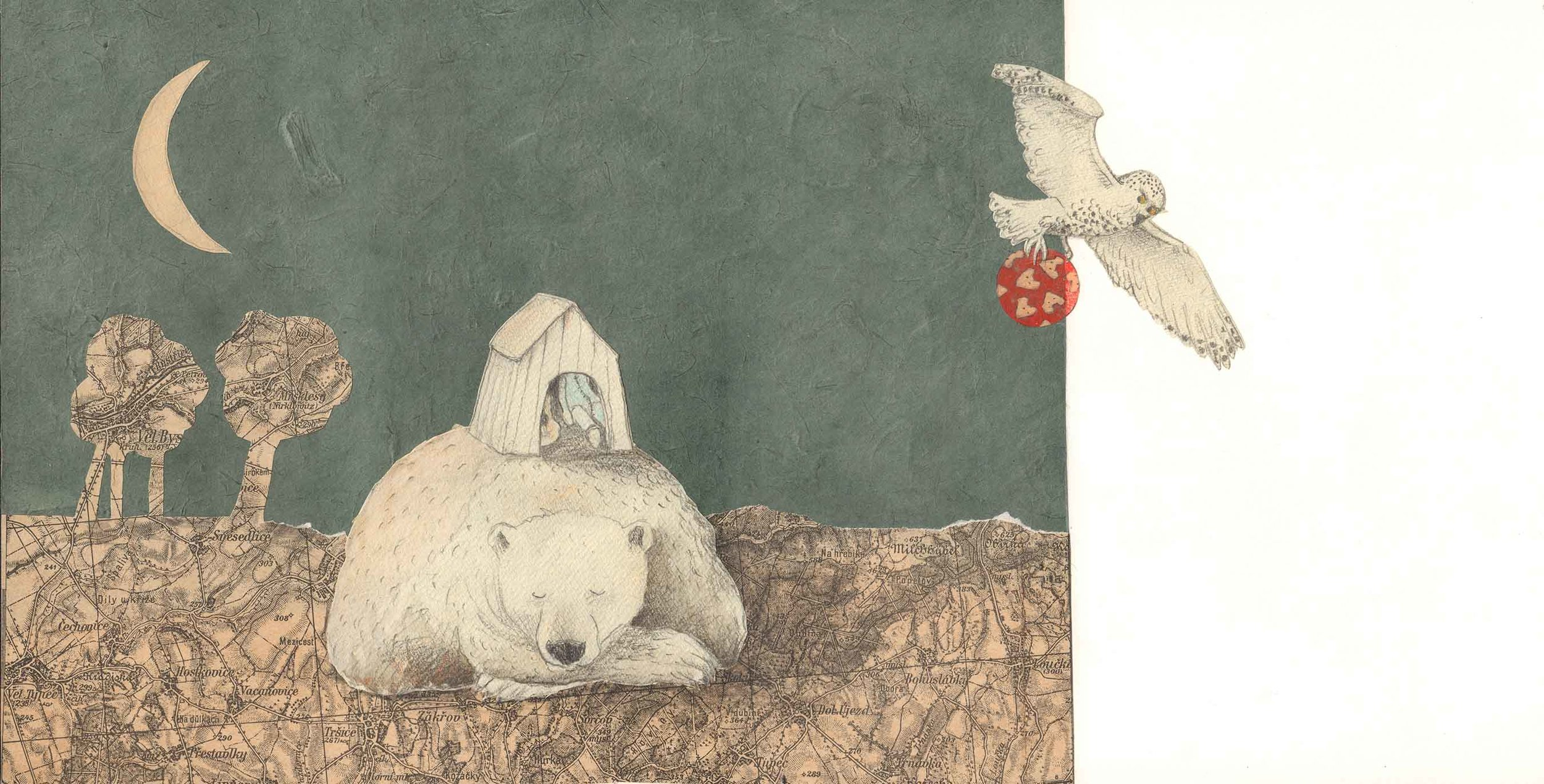 Illustration from interior spread in  At Night , Helga Bansch