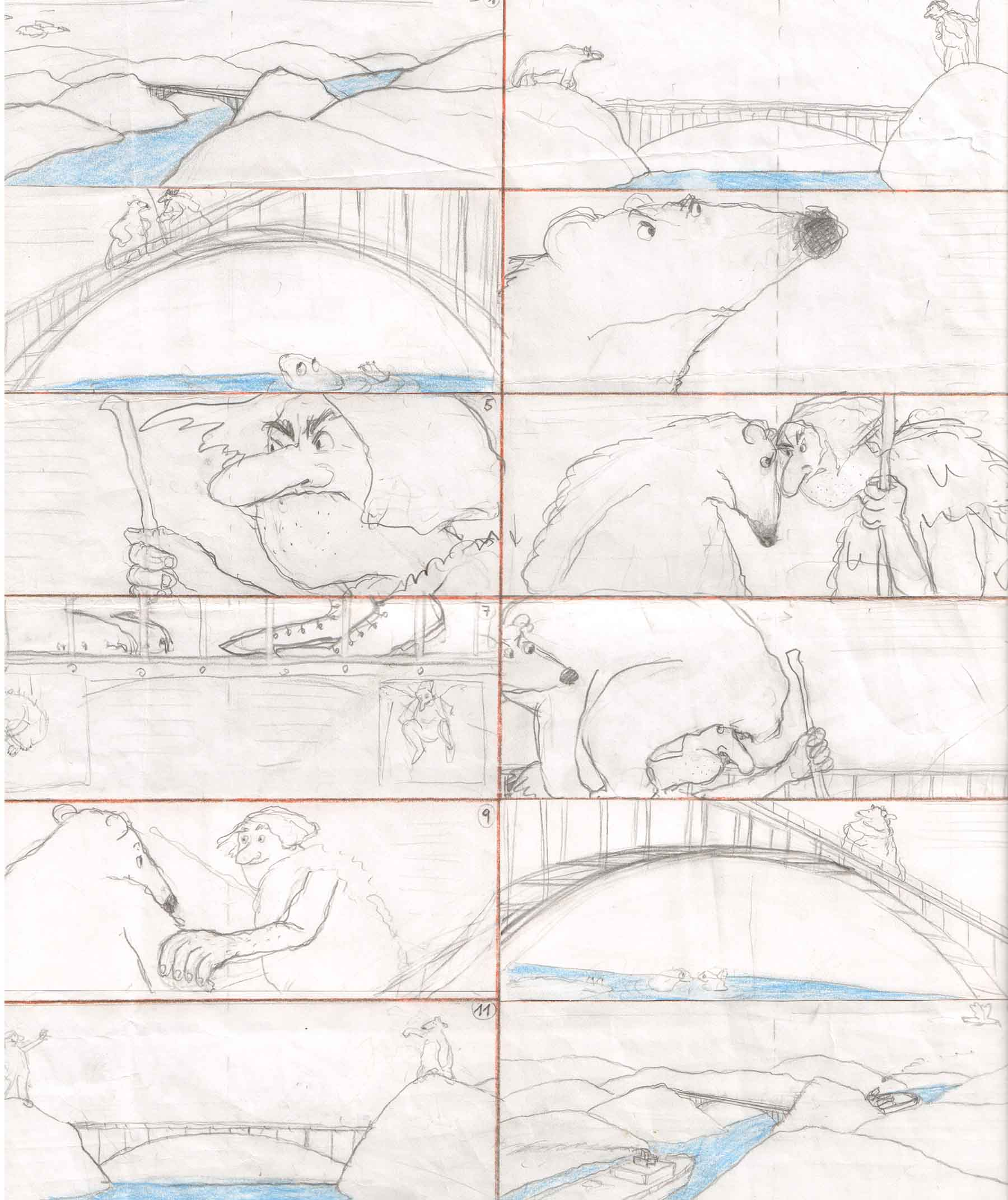 Storyboard sketches from   The Bridge,   Helga Bansch