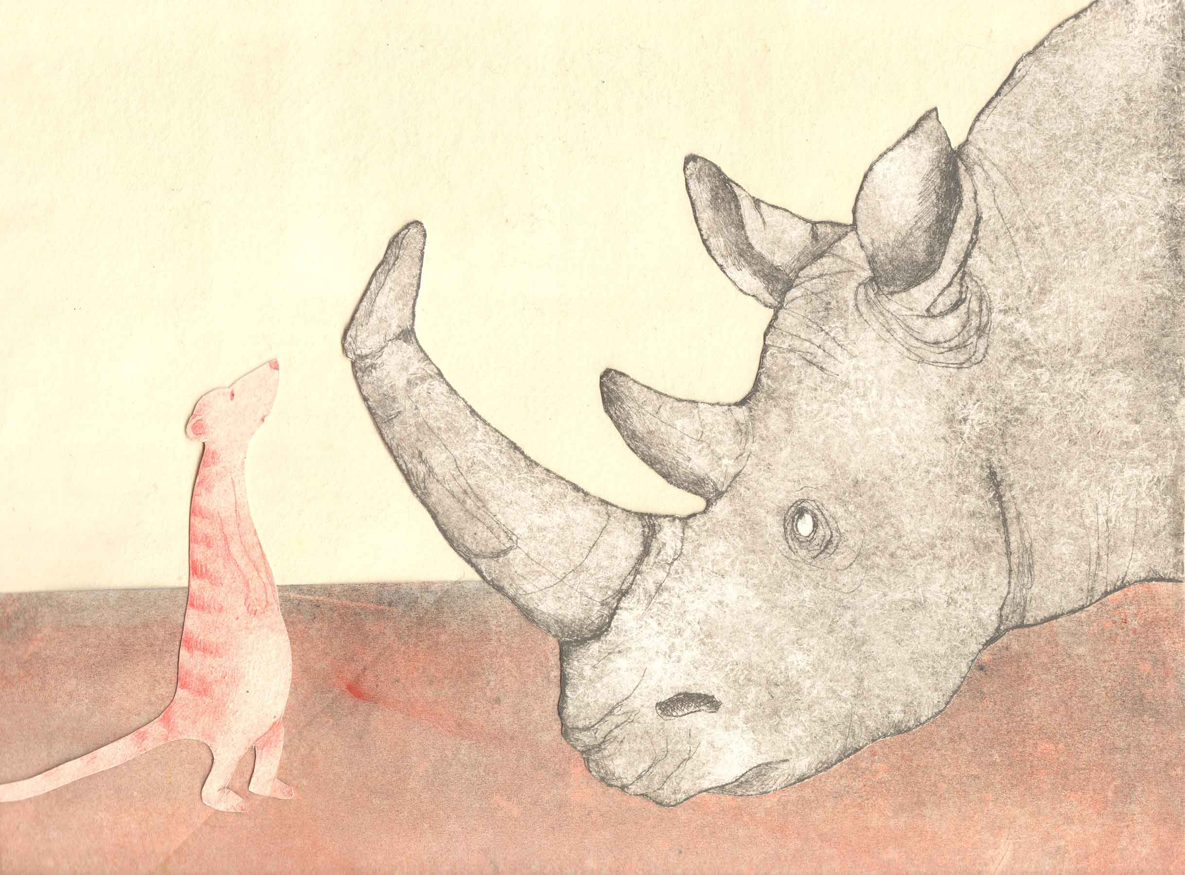 Preliminary art for illustration in   Here Comes Rhinoceros  , Helga Bansch