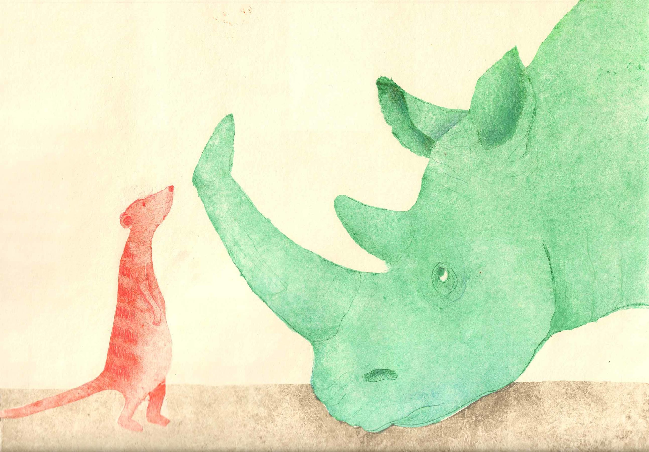 Preliminary exploration for illustration in   Here Comes Rhinoceros  , Helga Bansch